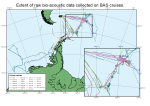 Extent of raw bio-acoustic data collected on British Antarctic Survey (BAS) cruises.